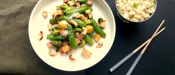 Tofu met sugarsnaps en broccoli